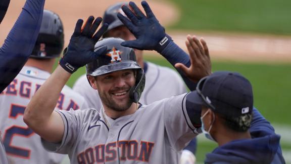 McCormick hits towering 3-run blast for first MLB homer
