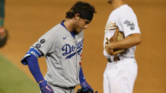 Bellinger leaves game after getting spiked at first