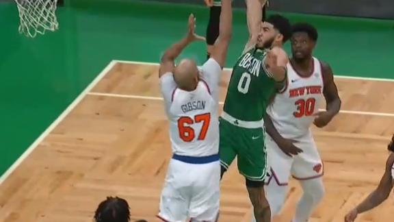 Tatum soars for emphatic one-handed jam