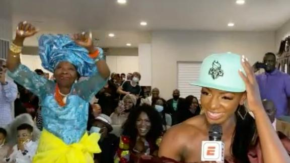 Onyenwere's grandma breaks out the dance moves on live TV
