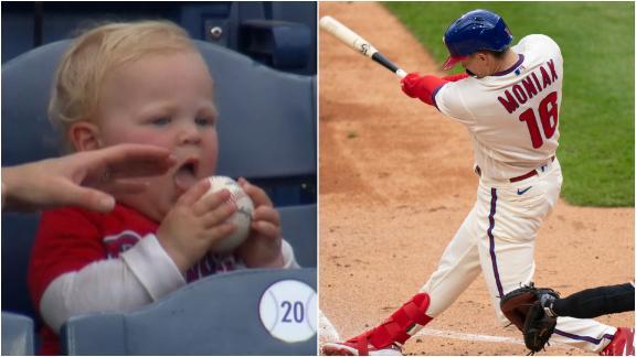 Kid tries to take a bite out of Moniak's home run ball