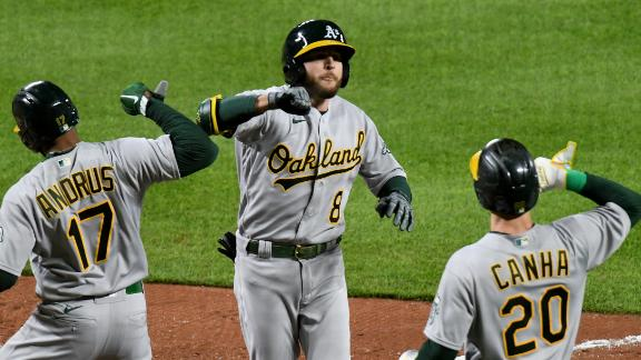 A's lead balloons after Lowrie's 3-run homer