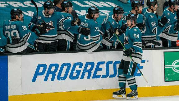 Barabanov scores in front of the goal as Sharks down Coyotes