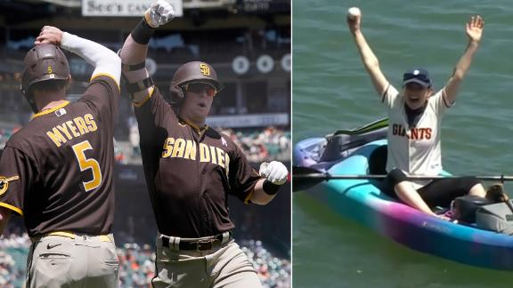 Cronenworth sends 445-foot homer into McCovey Cove