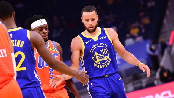 Curry drops 49 in three quarters of blowout win vs. OKC