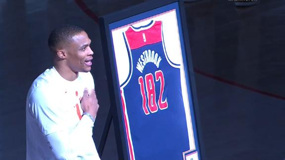 Westbrook honored in pregame for breaking triple-double record
