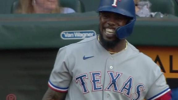 Garcia is all smiles after getting a piece of Greinke's 67 mph pitch