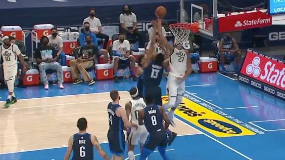 Clarkson lobs it up to Gobert for a jam