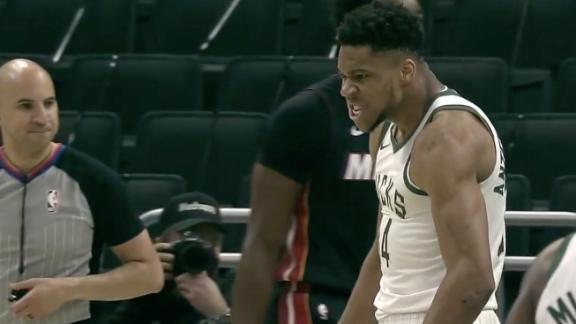 Giannis flexes and growls after and-1 flush