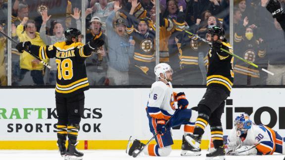 Pastrnak's hat trick gives Bruins Game 1 win over Islanders