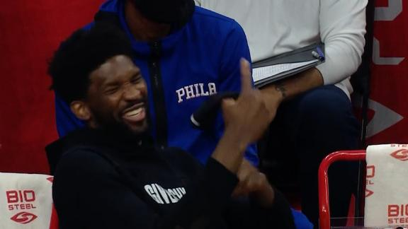 Embiid has a laugh at Howard's attempt to sell this and-1