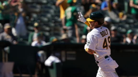 Skye Bolt's 1st MLB HR comes in A's rout of Royals