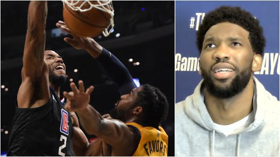 Kawhi's dunk interrupts Embiid's news conference: 'That was crazy!'