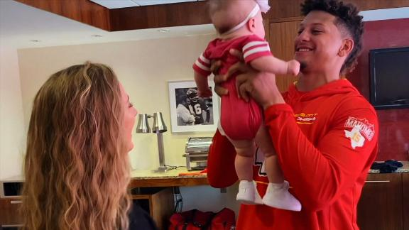 Mahomes' adorable baby girl welcomes him back to the Madden 99 Club