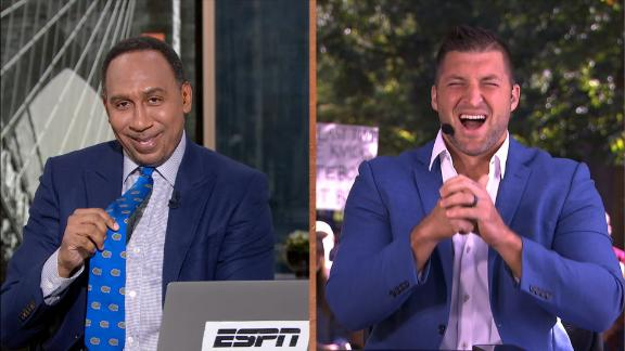 Stephen A. makes good on Gators tie bet with Tebow