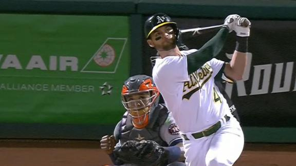 Pinder bashes grand slam in Athletics' win over the Astros