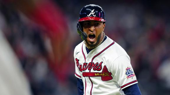 Eddie Rosario slaps a 3-run homer to give the Braves the lead