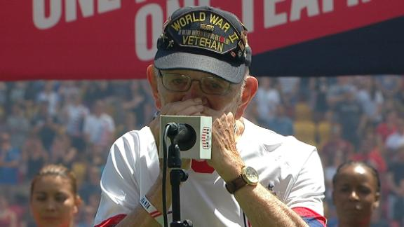 96-year-old WWII vet performs national anthem on harmonica