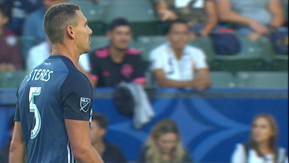 Galaxy down to 10 early after Steres red card