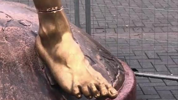 Visible saw marks on Zlatan statue after more vandalism