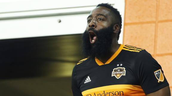 James Harden hyped about his new Houston Dynamo jersey