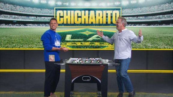 Chicharito plays foosball on SportsCenter