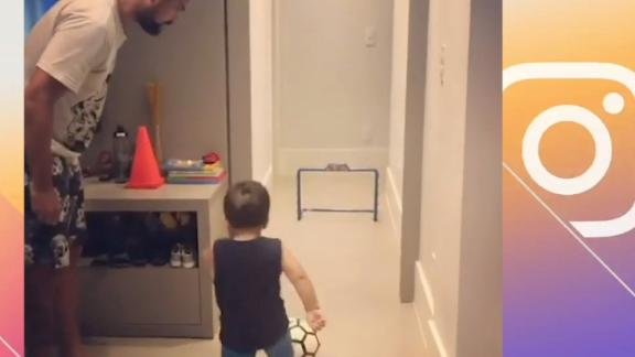 Young soccer player shows off skills in training routine