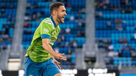 Seattle's Roldan fires a laser into the net for the goal