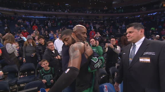 Emotional Kyrie gives jersey to dad after MSG win