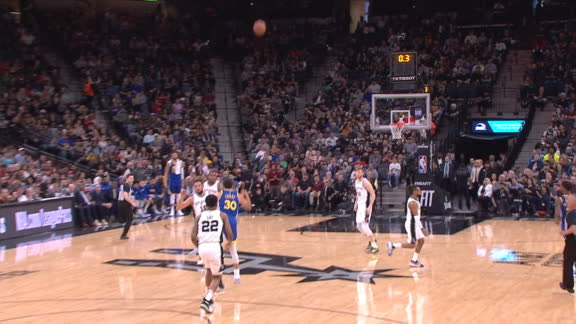 Curry banks in shot from other three-point line