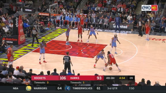 Harden buries step-back 3 on Young