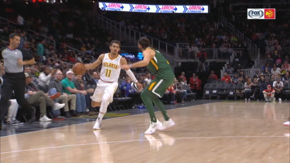 Young fakes out Jazz defense with dribble between the legs