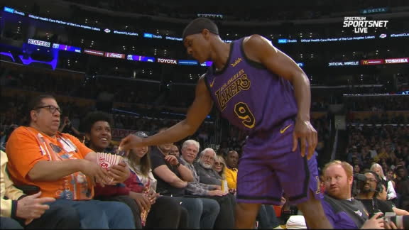 Rondo helps himself to fan's popcorn mid-game