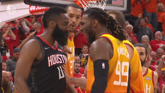 Harden, Crowder get heated after Mitchell 3