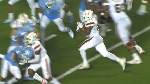 Harris bursts through UNC defense for Miami TD