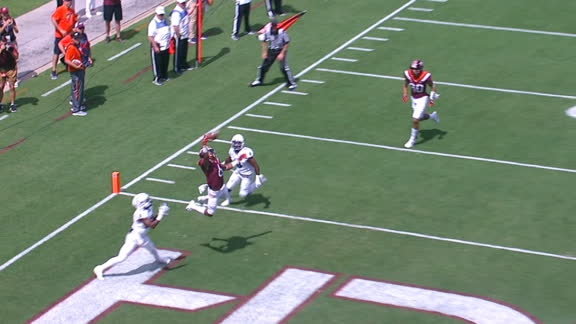 Virginia Tech's Grimsley hauls in perfect one-handed TD