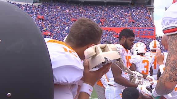 Tennessee player struggles with a telephone