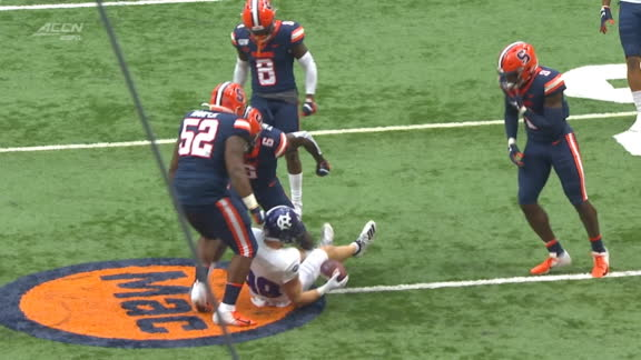 Syracuse defender suplexes opponent to the ground