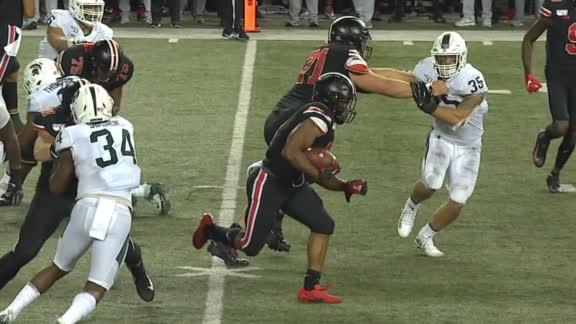 Dobbins breaks free for 67-yard TD