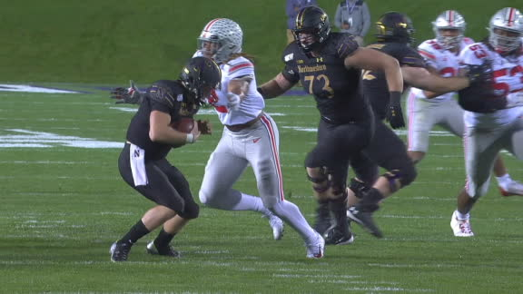 Young disrupts Northwestern's opening drive with a sack