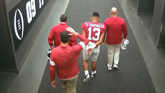 Tua leaves game after apparent ankle injury