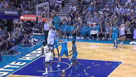 Towns grabs the board and slams