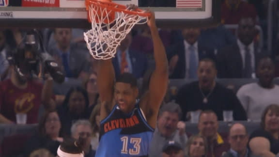 Garland finds Thompson for alley-oop slam