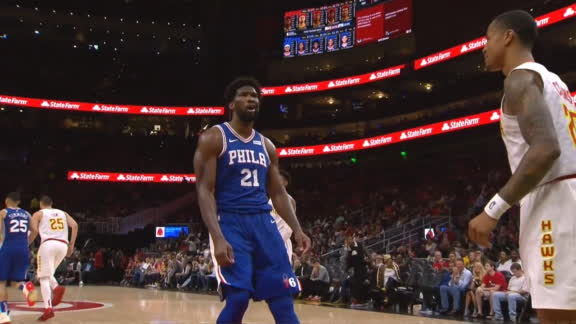 Embiid throws down a poster, shimmies on Collins