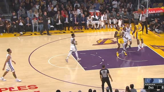 Lakers' fast-break ball movement leads to LeBron dunk