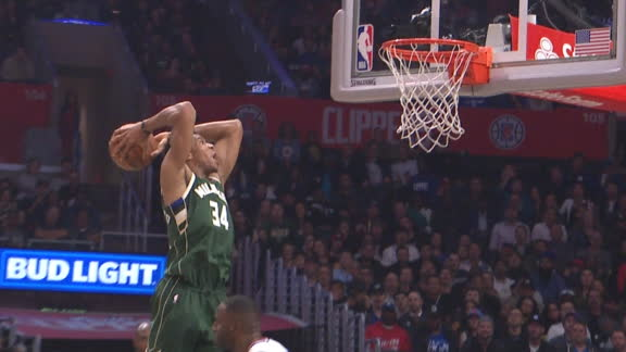 Bledsoe fakes a layup, sets up Giannis for big dunk