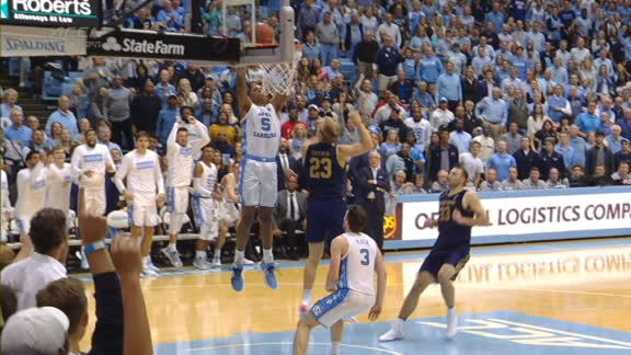 UNC's stingy defense leads to Bacot's alley-oop