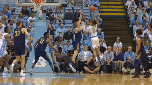 Anthony scores his first basket as a Tar Heel