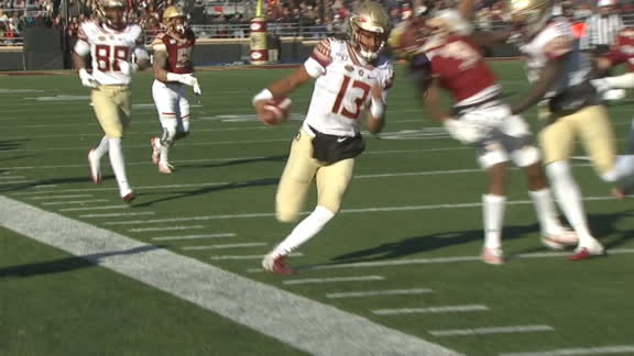 Travis' first snap for FSU is a TD