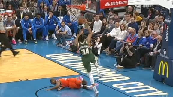 Giannis runs over CP3 to throw down fast-break dunk